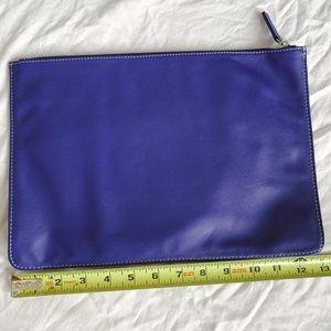 J. McLaughlin Blue Leather Clutch
